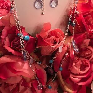Long blue necklace and earrings set